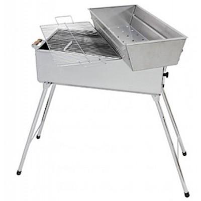 Faszén grillsütő, rozsdamentes acél + nyárs készlet