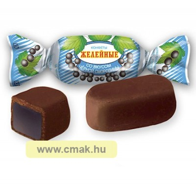 Zselés cukorka csoki bevonatban fekete ribizli ízben 100g