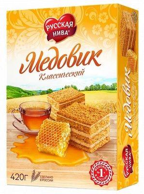 Mézes tórta Medovik hagyományos Russzkaja Niva 420g